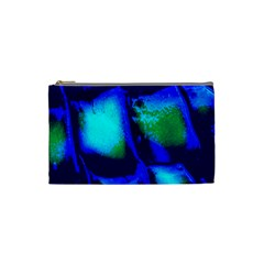 Blue Scales Pattern Background Cosmetic Bag (small)