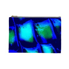 Blue Scales Pattern Background Cosmetic Bag (large)
