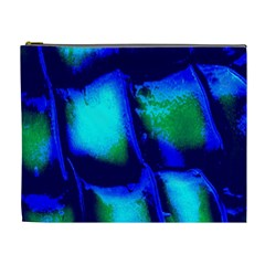 Blue Scales Pattern Background Cosmetic Bag (xl)