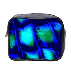 Blue Scales Pattern Background Mini Toiletries Bag 2 Side