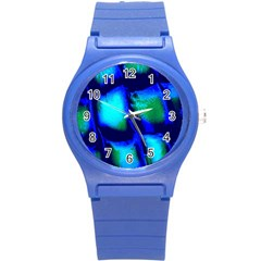 Blue Scales Pattern Background Round Plastic Sport Watch (s)