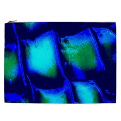 Blue Scales Pattern Background Cosmetic Bag (xxl)