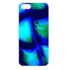 Blue Scales Pattern Background Apple Iphone 5 Seamless Case (white)