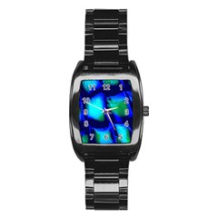 Blue Scales Pattern Background Stainless Steel Barrel Watch