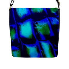 Blue Scales Pattern Background Flap Messenger Bag (l)