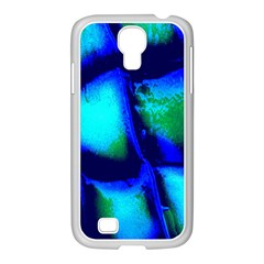 Blue Scales Pattern Background Samsung GALAXY S4 I9500/ I9505 Case (White)