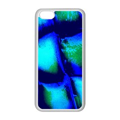 Blue Scales Pattern Background Apple iPhone 5C Seamless Case (White)