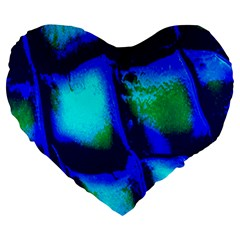 Blue Scales Pattern Background Large 19  Premium Flano Heart Shape Cushions