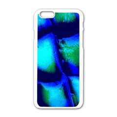 Blue Scales Pattern Background Apple Iphone 6/6s White Enamel Case
