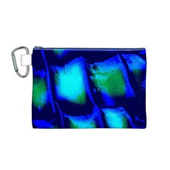Blue Scales Pattern Background Canvas Cosmetic Bag (M)