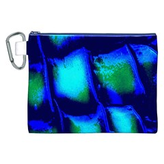 Blue Scales Pattern Background Canvas Cosmetic Bag (XXL)
