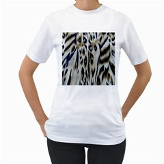 Tiger Background Fabric Animal Motifs Women s T Shirt (white) (two Sided)