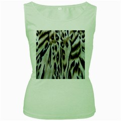 Tiger Background Fabric Animal Motifs Women s Green Tank Top