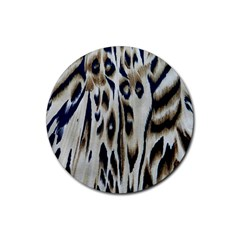 Tiger Background Fabric Animal Motifs Rubber Round Coaster (4 pack)
