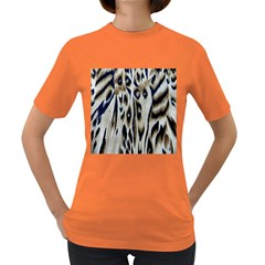 Tiger Background Fabric Animal Motifs Women s Dark T Shirt