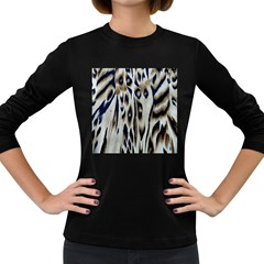 Tiger Background Fabric Animal Motifs Women s Long Sleeve Dark T-Shirts