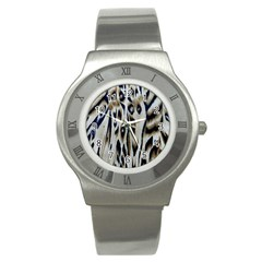 Tiger Background Fabric Animal Motifs Stainless Steel Watch