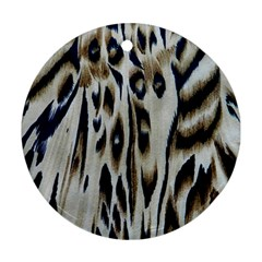 Tiger Background Fabric Animal Motifs Round Ornament (two Sides)