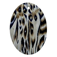Tiger Background Fabric Animal Motifs Oval Ornament (two Sides)