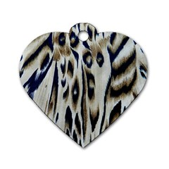 Tiger Background Fabric Animal Motifs Dog Tag Heart (two Sides)