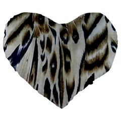 Tiger Background Fabric Animal Motifs Large 19  Premium Heart Shape Cushions