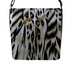 Tiger Background Fabric Animal Motifs Flap Messenger Bag (L)