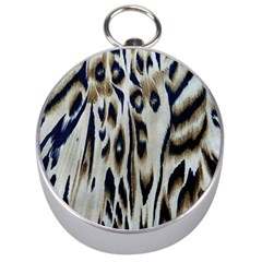 Tiger Background Fabric Animal Motifs Silver Compasses