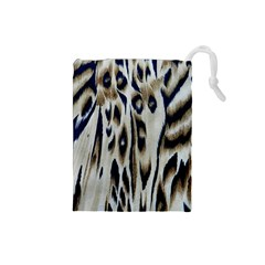 Tiger Background Fabric Animal Motifs Drawstring Pouches (small)