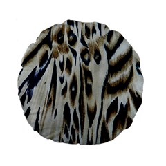 Tiger Background Fabric Animal Motifs Standard 15  Premium Flano Round Cushions