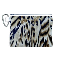Tiger Background Fabric Animal Motifs Canvas Cosmetic Bag (L)