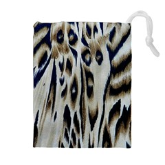 Tiger Background Fabric Animal Motifs Drawstring Pouches (extra Large)
