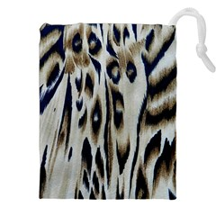 Tiger Background Fabric Animal Motifs Drawstring Pouches (XXL)