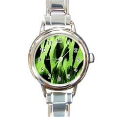 Green Tiger Background Fabric Animal Motifs Round Italian Charm Watch