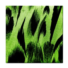 Green Tiger Background Fabric Animal Motifs Tile Coasters