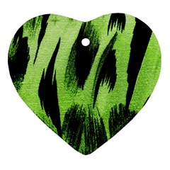 Green Tiger Background Fabric Animal Motifs Ornament (Heart)