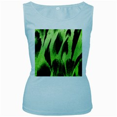 Green Tiger Background Fabric Animal Motifs Women s Baby Blue Tank Top