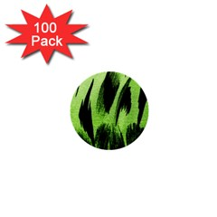 Green Tiger Background Fabric Animal Motifs 1  Mini Buttons (100 Pack)