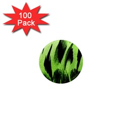 Green Tiger Background Fabric Animal Motifs 1  Mini Magnets (100 Pack)