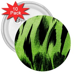 Green Tiger Background Fabric Animal Motifs 3  Buttons (10 Pack)