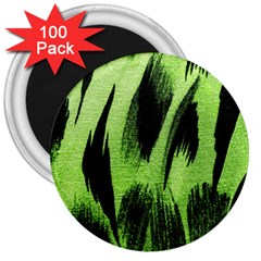 Green Tiger Background Fabric Animal Motifs 3  Magnets (100 pack)