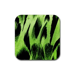 Green Tiger Background Fabric Animal Motifs Rubber Square Coaster (4 Pack)