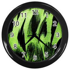 Green Tiger Background Fabric Animal Motifs Wall Clocks (black)