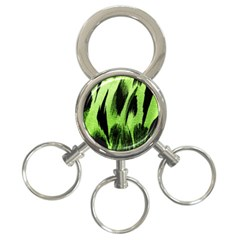 Green Tiger Background Fabric Animal Motifs 3-Ring Key Chains