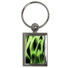 Green Tiger Background Fabric Animal Motifs Key Chains (Rectangle)