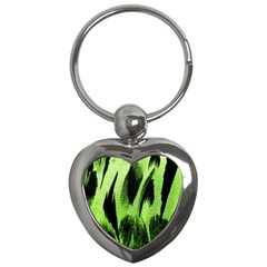 Green Tiger Background Fabric Animal Motifs Key Chains (heart)