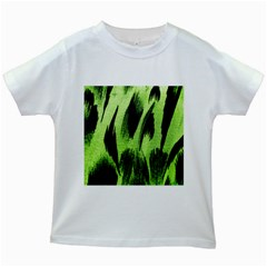 Green Tiger Background Fabric Animal Motifs Kids White T Shirts