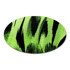 Green Tiger Background Fabric Animal Motifs Oval Magnet