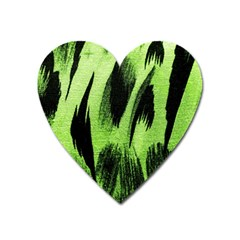 Green Tiger Background Fabric Animal Motifs Heart Magnet
