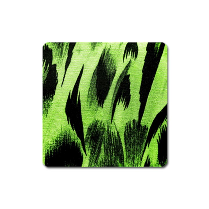 Green Tiger Background Fabric Animal Motifs Square Magnet