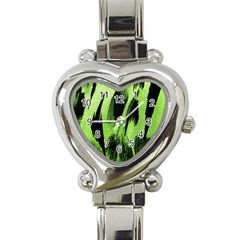 Green Tiger Background Fabric Animal Motifs Heart Italian Charm Watch